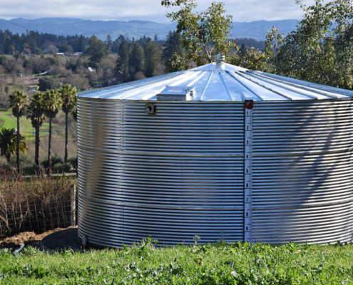 Water catchment is an important part of our sustainability porgram at Redwood Hill Farm