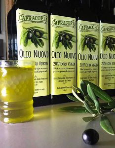bottles of the 2017 Capracopia Olio Nuovo from the olive harvest